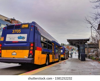 Kirkland, WA / USA - circa November 2019: View of the Kirkland Transit Center downtown neat the King County Public Library, a bus waiting idle in front of the covered bus stop.