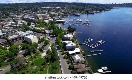 Kirkland, WA Waterfront Aerial Panoramic Photo Looking South Towards Lake Washington and the Bellevue Skyline