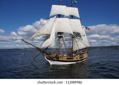 KIRKLAND, WASHINGTON - AUG 31 : The wooden brig, Lady Washington, sails on Lake Washington   as part of Labor Day festivities on Aug 31, 2012 near Kirkland , Washington.
