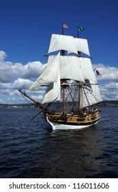 KIRKLAND, WASHINGTON - AUG 31 - The wooden brig, Lady Washington, sails on Lake Washington    during a mock sea battle as part of Labor Day festivities on Aug 31, 2012 near Kirkland , Washington.