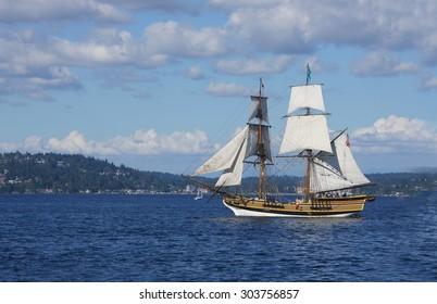 KIRKLAND, WASHINGTON - AUG 31 - The wooden brig, Lady Washington, sails on Lake Washington   as part of Labor Day festivities on Aug 31, 2012 near Kirkland , Washington.