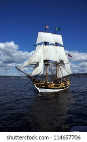 KIRKLAND, WASHINGTON - AUG 31:The wooden brig, Lady Washington, sails on Lake Washington    during a mock sea battle as part of Labor Day festivities on Aug 31, 2012 near Kirkland , Washington.
