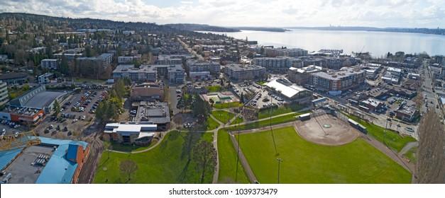 Kirkland Washington Downtown Aerial Panoramic View Looking Toward Lake Washington Seattle