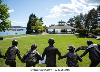 Kirkland, Washington / USA - June 1 2020:  Wide angle view of Marina Park along the Kirkland Waterfront