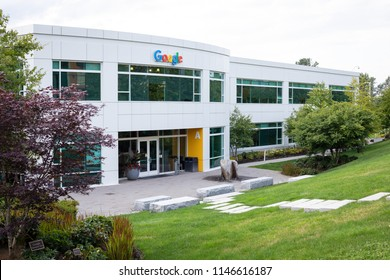 Kirkland, Washington / USA - June 29 2018: Google corporate office building and campus in the Seattle suburb of Kirkland