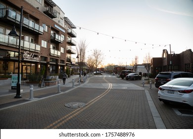 Kirkland, Washington / USA - March 19 2020: Deserted main street in a small town during the  COVID-19 Pandemic