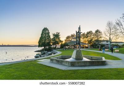 kirkland,Washington,usa. 2016/03/28: Marina bay park when sunset.