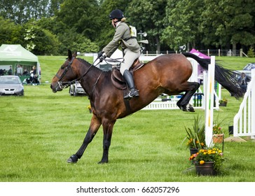 KIRKLEY HALL, NORTHUMBERLAND, ENGLAND, UK,  JUNE 11, 2017. Riders take part in Horse Trials Event, Kirkley Hall, Northumberland. June 11, 2017, Kirkley Hall, Northumberland, Show Jumping. England, UK.