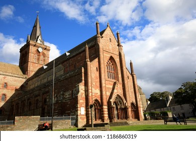 Kirkwall - Orkney (Scotland), UK - August 07, 2018: 12th century Romanesque Saint Magnus cathedral in Kirkwall, Orkney, Scotland, Highlands, United Kingdom