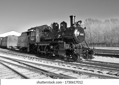 "Kirkwood, Missouri December 5, 2018: Wabash 2-6-0 ""mogul"" steam locomotive #573 at the National Museum of Transportation."