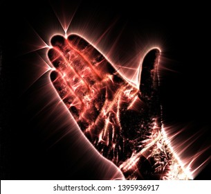 Kirlian aura photography of a glowing human male hand showing different symbols and show of hands
