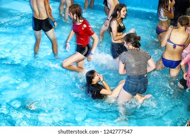 Kirov, Russia - August 19, 2018: Teenagers on party AQUA MADFLOW at Russia in Kirov city in AquPark named Friendship