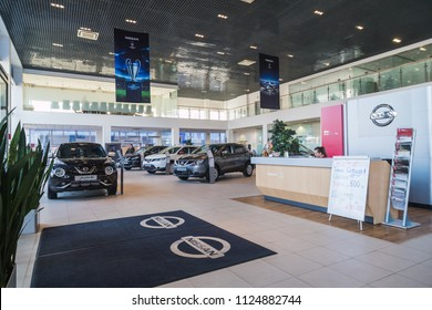 Kirov, Russia - March 14, 2018: Cars in showroom of dealership Nissan in Nizhny Novgorodcity in 2018