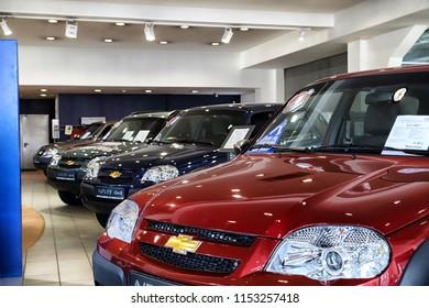 Kirov, Russia - March 14, 2018: Cars in showroom of dealership Chevrolet in Nizhny Novgorodcity in 2018