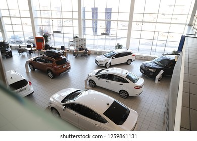 Kirov, Russia - March 14, 2018: Cars in showroom of dealership Hynday in Nizhny Novgorodcity in 2018. Top view