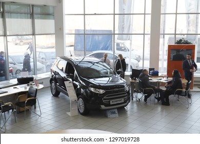 Kirov, Russia - March 14, 2018: Cars in showroom of dealership Ford in Nizhny Novgorod city in 2018