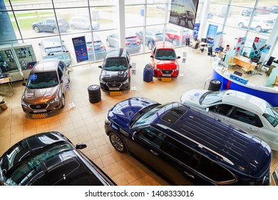Kirov, Russia - May 07, 2019: Cars in showroom of dealership Datsun in Kirov in 2019. Top view