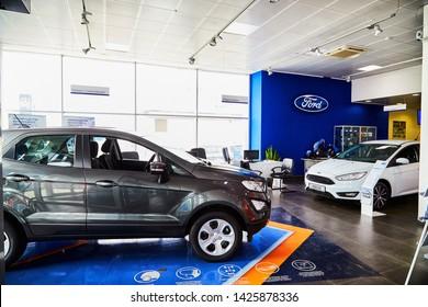 Kirov, Russia - May 07, 2019: Car in showroom of dealership Ford in Kirov in 2019