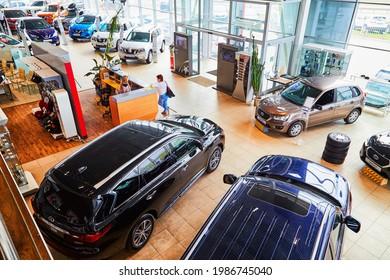 Kirov, Russia - May 07, 2019: Cars in showroom of dealership Nissan in Kirov. Top view