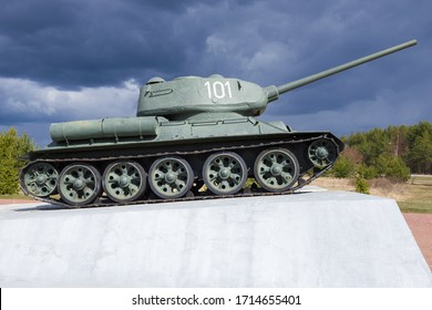 KIROVSK, RUSSIA - APRIL 26, 2020: Tank-monument T-34-85 on the Nevsky Patch under a stormy sky in April afternoon