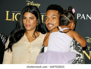 Kirsten Corley, Chance The Rapper and Kensli Bennett at the World premiere of 'The Lion King' held at the Dolby Theatre in Hollywood, USA on July 9, 2019.