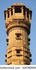 Kirti Stambh (Manastambha) of Hatheesing Jain temple, which is located in Ahmedabad, Gujarat, India. The temple is dedicated to Dharmanatha, the fifteenth Jain Tirthankar.