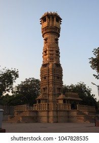 Kirti Stambh (Manastambha) of   Hatheesing Jain temple, which is located in Ahmedabad, Gujarat, India. The temple is dedicated to Dharmanatha, the fifteenth Jain Tirthankar.