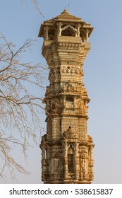 Kirti Stambha (Tower of Fame) in fortress of Chittorgarh, Rajasthan considered to be the largest fort in India and the largest in Asia. It is on UNESCO World Heritage List as Hill Forts of Rajasthan.