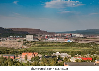 Kiruna, Sweden - August 6, 2014: View over the Kiruna mines. The whole town will have to move because of the expanding mining operation.