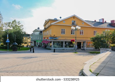 Kiruna, Sweden - August 6, 2014:The main shopping area at Kiruna. The whole town has to move and is established at a different location.