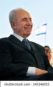 KIRYAT GAT, ISR - MAY 30: Israeli President Shimon Peres on May 30 2010. In December 10, 1994 - Awarded the Nobel Peace Prize along with Yasser Arafat and Yitzhak Rabin for Oslo agreements.