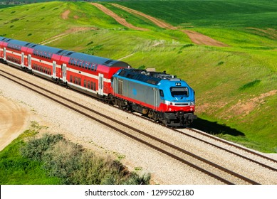 Kiryat Gat, ISRAEL- JANUARY 29, 2019:Train on a rout Kiryat Gat- Beer Sheva.The current generation can be run at speeds up to 160 km/h (99.4 mph)and each coach can seat 100 to 150 passengers.