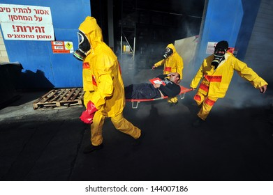 KIRYAT MALAKI - DEC 02: The Israeli emergency forces held an exercise with a scenario that prepared for a possible rocket attack on a chemical factory on December 2 2009 in Kiryat Malaki, Israel.