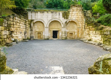Kiryat Tivon, Israel - March 13, 2019: The facade of the Cave of the Coffins, a Jewish burial cave from the Roman period, in Bet Shearim National Park (Jewish Necropolis), Northern Israel