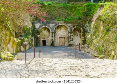 Kiryat Tivon, Israel - March 13, 2019: The facade of The Cave of Rabbi Yehuda HaNasi, a Jewish burial cave from the Roman period, in Bet Shearim National Park (Jewish Necropolis), Northern Israel