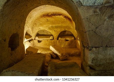 Kiryat Tivon, Israel - March 13, 2019: Various Sarcophagus (Roman period coffins), in a Jewish burial cave, in Bet Shearim National Park (Jewish Necropolis), Northern Israel