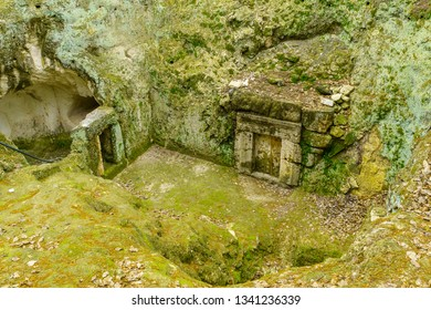 Kiryat Tivon, Israel - March 13, 2019: Entrance to a Jewish burial cave from the Roman period, in Bet Shearim National Park (Jewish Necropolis), Northern Israel