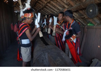 Kisama Heritage Village, Kohima, Nagaland/India- 2nd December 2017. Hornbill Festival is a celebration held every year, it is also called the  'Festival of Festivals'. Naga traditions, dance. music.