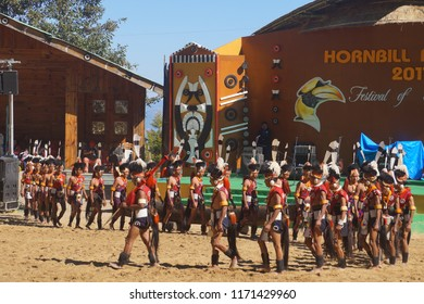 Kisama Heritage Village, Kohima, Nagaland/India- 2nd December 2017. Hornbill Festival is a celebration held every year, t is also called the  'Festival of Festivals'. Naga traditions, dance. music.