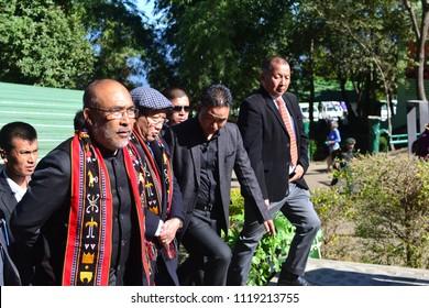 Kisama Village, Nagaland, India (December 5 2017): Manipur Chief Minister N. Biren Singh was a Chief Guest at the Hornbill Festival 2017
