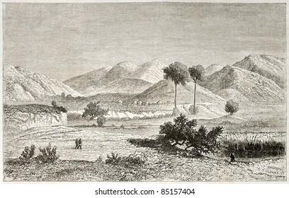 Kisanga region old view, Congo. Created by Lavieille after Burton, published on Le Tour du Monde, Paris, 1860.