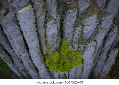 Kisapati, Hungary - Aerial view of volcanic basalt organs at Szent Gyorgy-hegy near lake Balaton with moody tones.