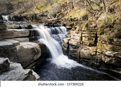 Kisdon Force is a series of waterfalls on the River Swale in Swaledale, England. The falls are situated within the Yorkshire Dales National Park in the county of North Yorkshire.