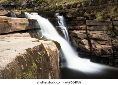 Kisdon force waterfall on the river Swale in the village of Keld, located inside the Yorkshire Dales national park