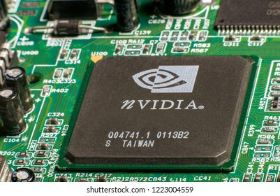 Kishinev/ Moldova 11-01-2018: nVIDIA graphic processor on video adapter board close up.