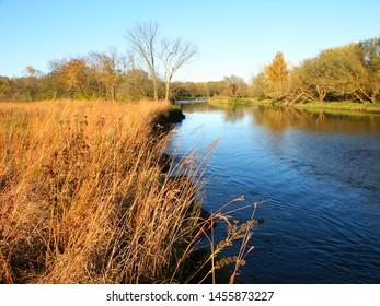 Kishwaukee River flows through Illinois on a beautiful fall day