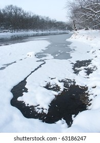 Kishwaukee River on a cold winter morning at Blackhawk Springs Forest Preserve in northern Illinois