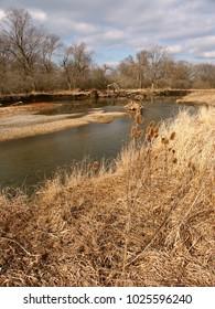 Kishwaukee River winds through northern Illinois on a sunny autumn day