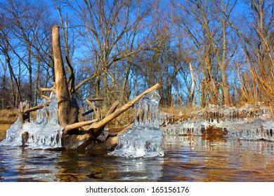 Kishwaukee River Winter Scene in Illinois