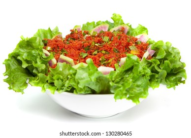 Kisir, Bulgur wheat as a salad prepared with tomato paste, fresh tomatoes, parsley, olive oil.